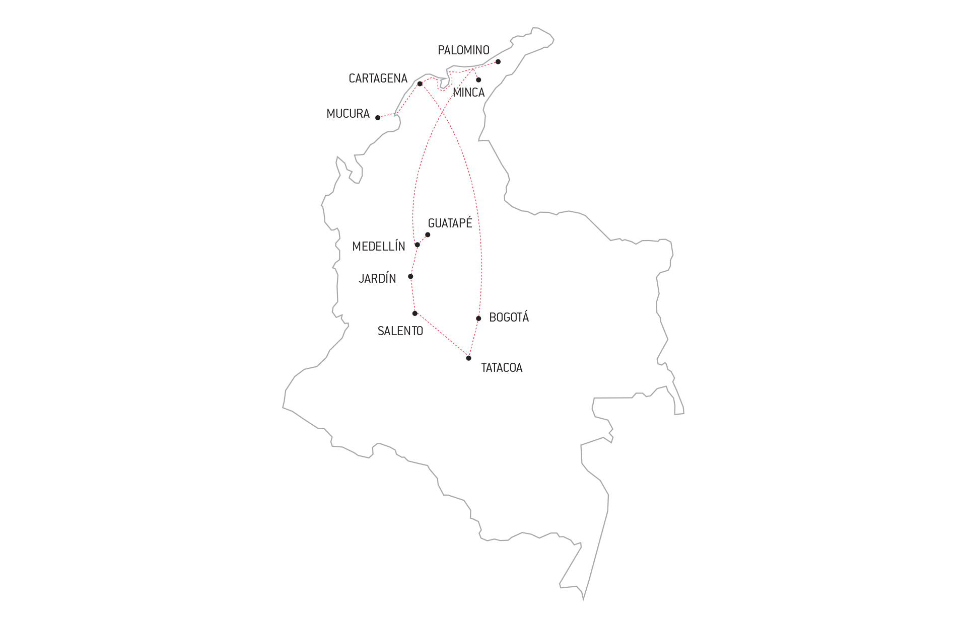 map of our itinerary in colombia