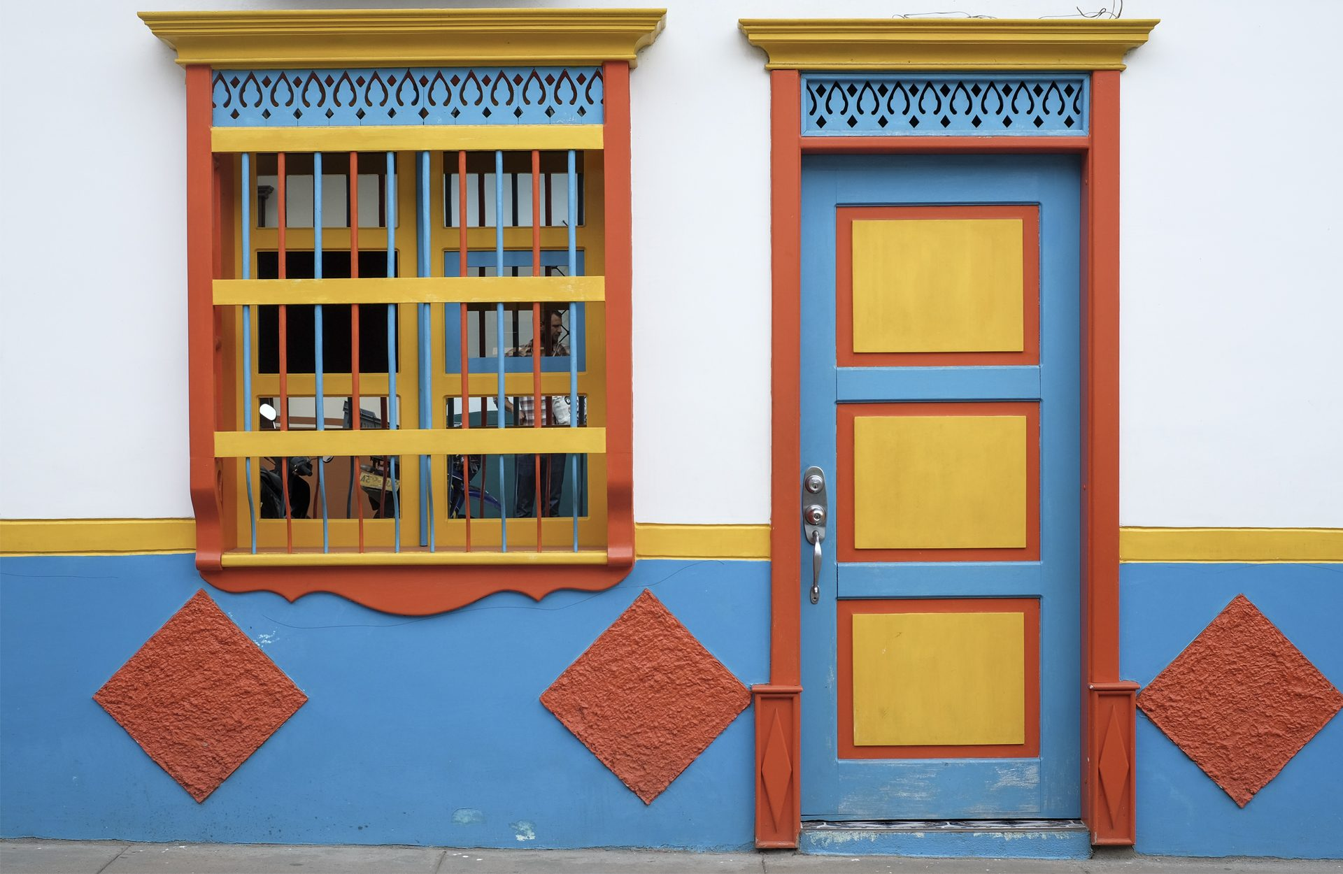 door and window colorful yellow blue red in Colombia, Jardin