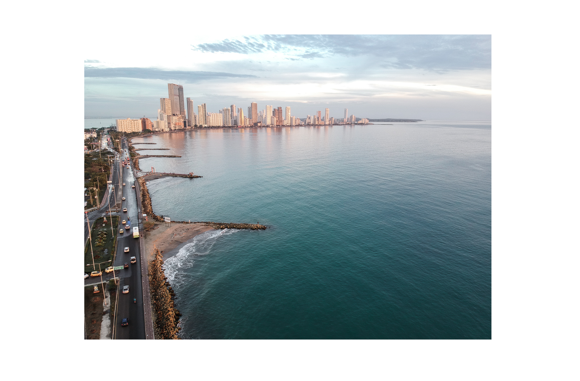 cartagena view drone skyline sunset