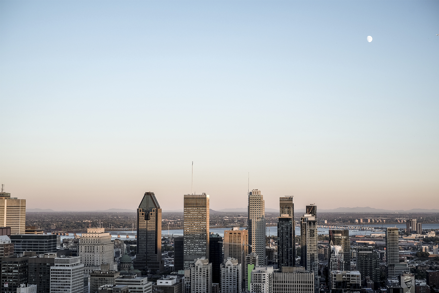 View of Montreal during the sunset