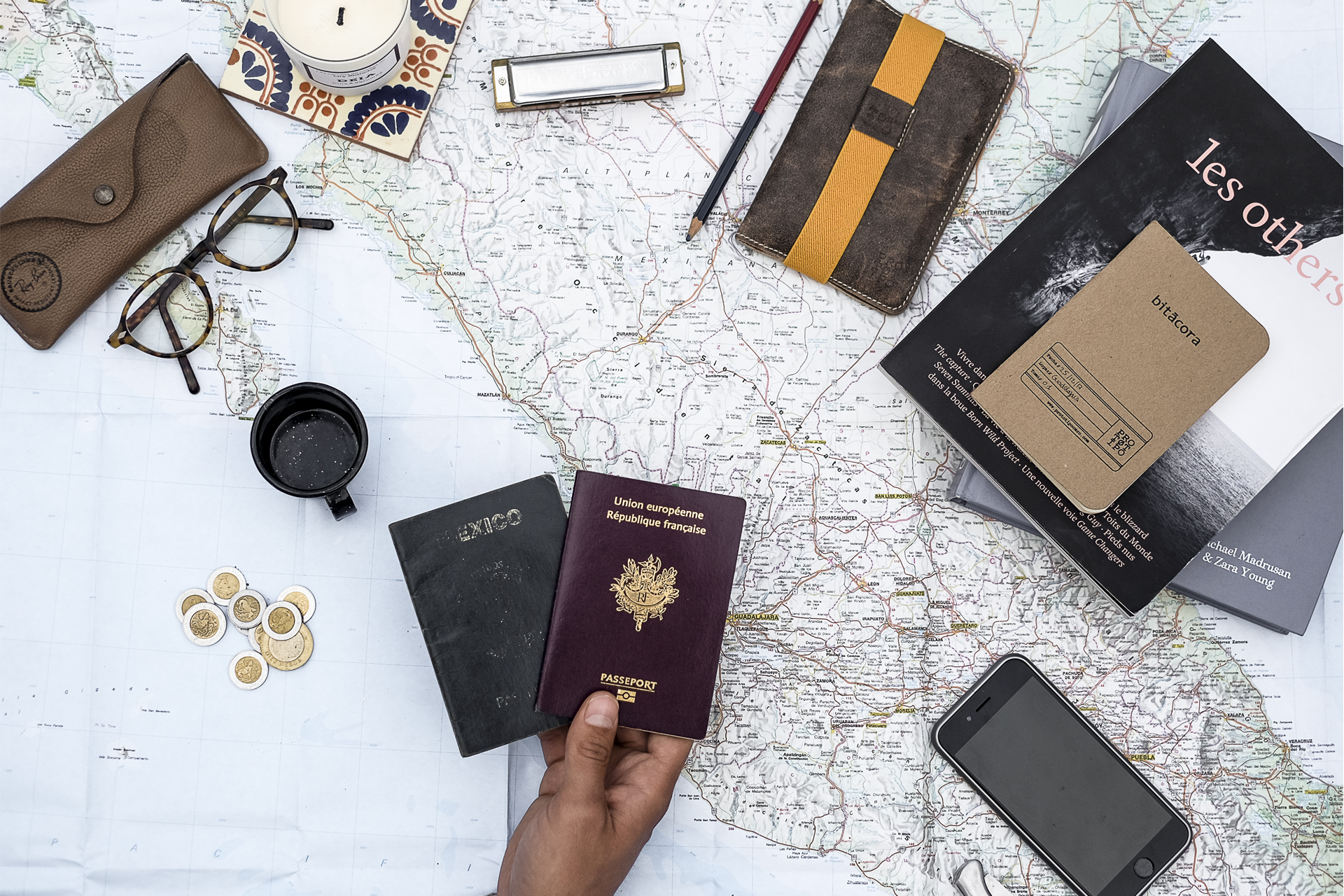 Map of mexico showing how to travel with passport books and glasses