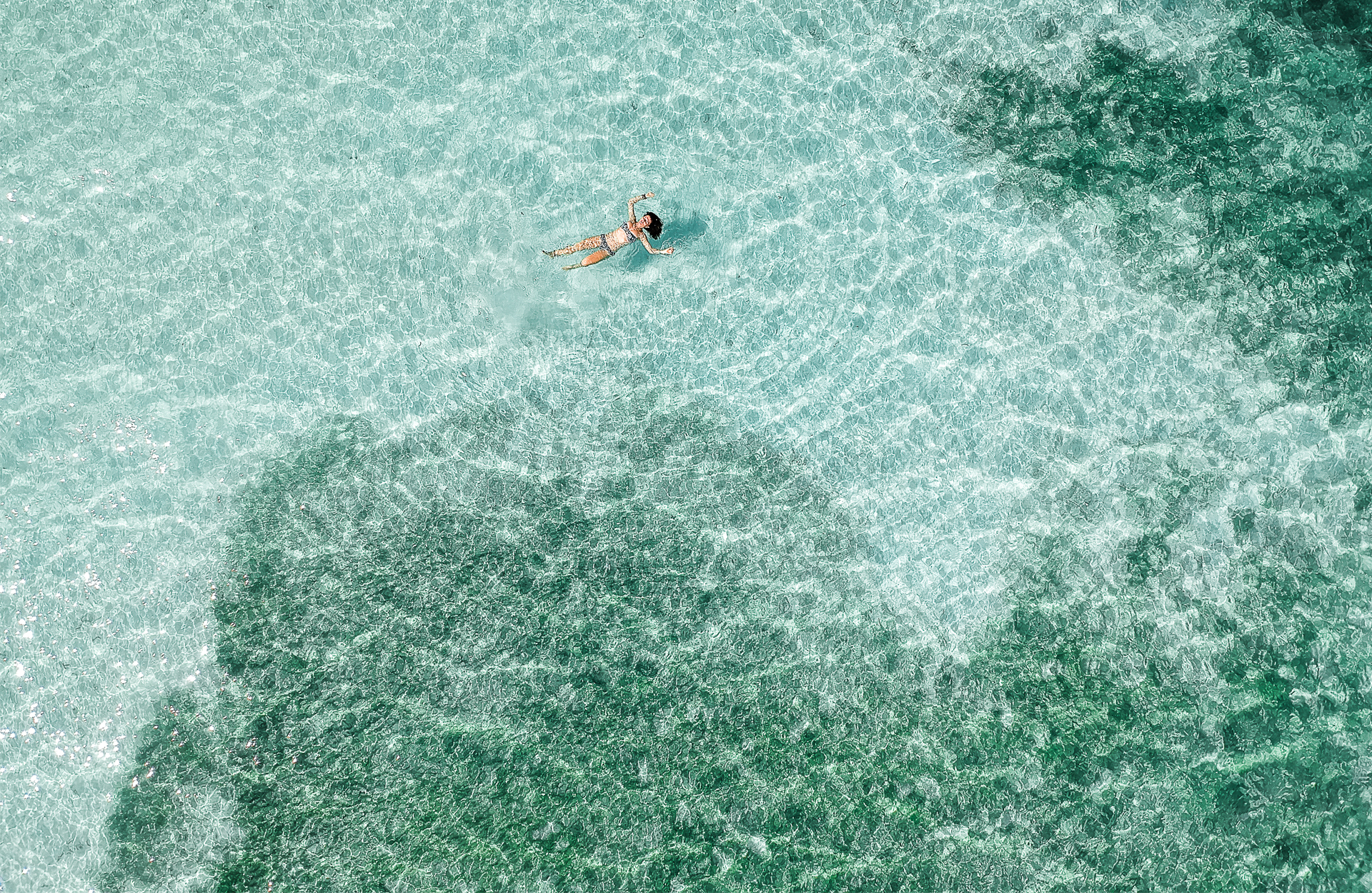 teal water woman swimming