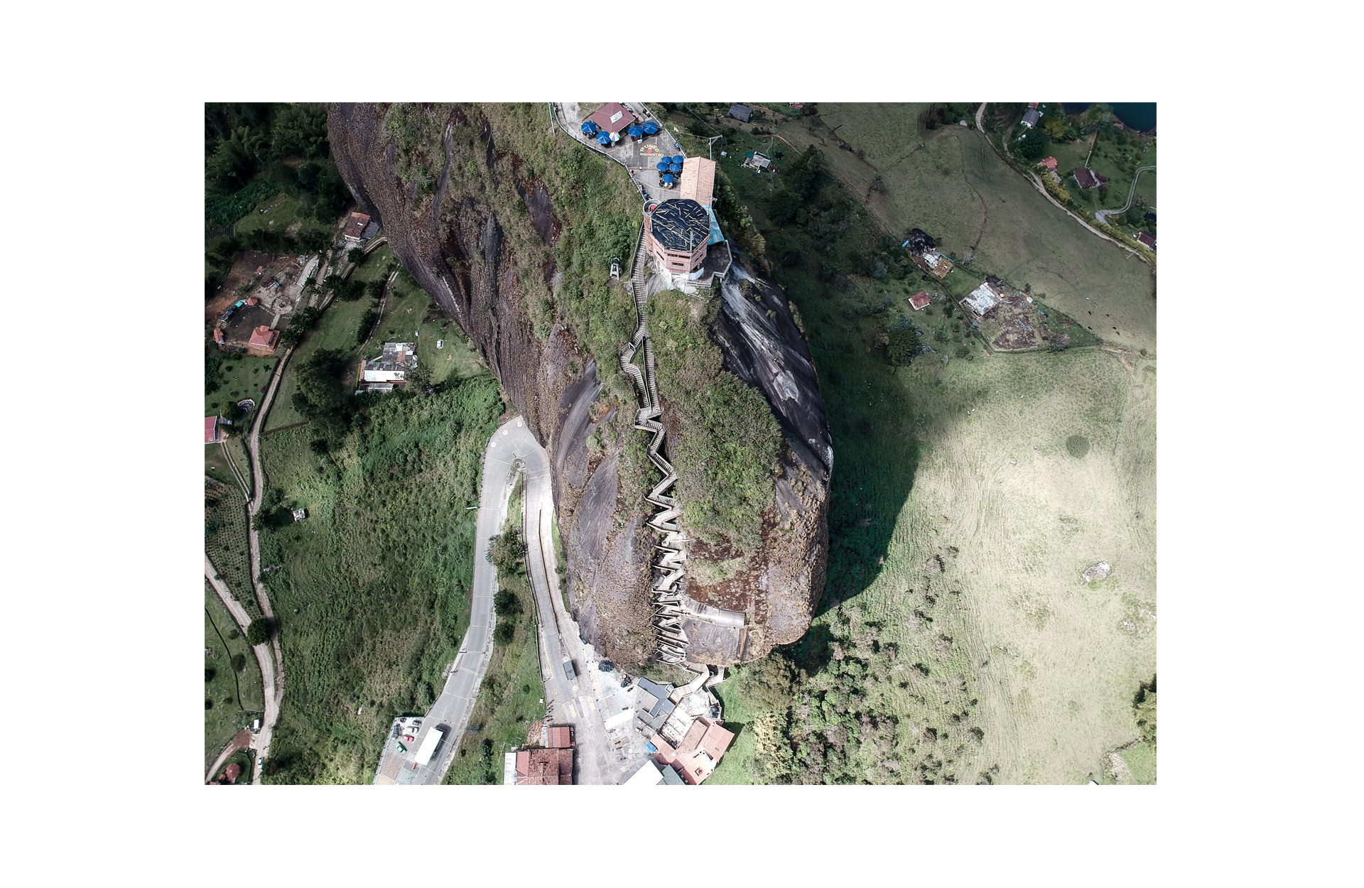 view from the top of the penol, view of the stairway taken with a drone