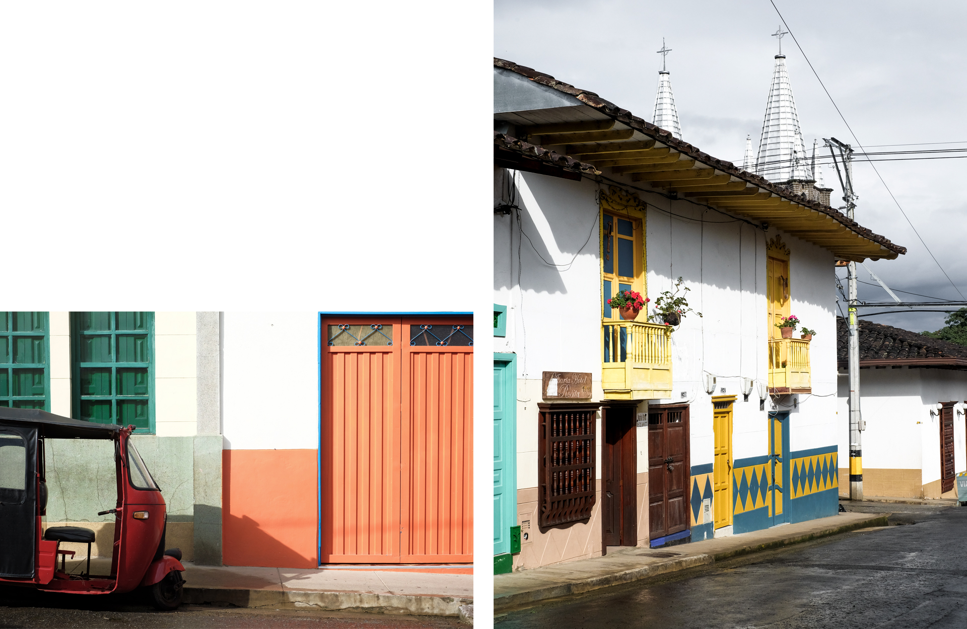 Authentic Colombia Jardin red tuk-tuk and facades