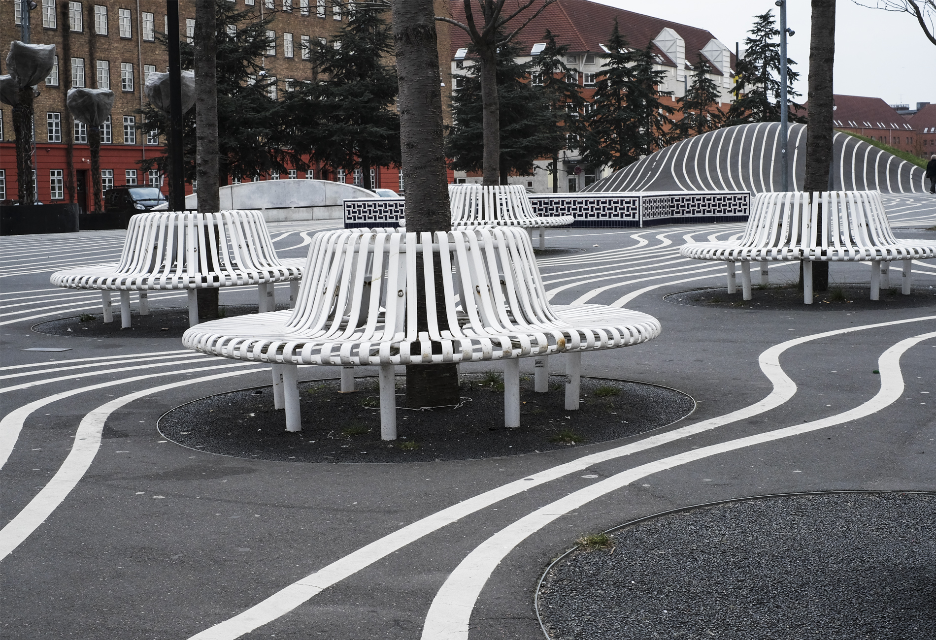 White line and benches at park in Copenhagen