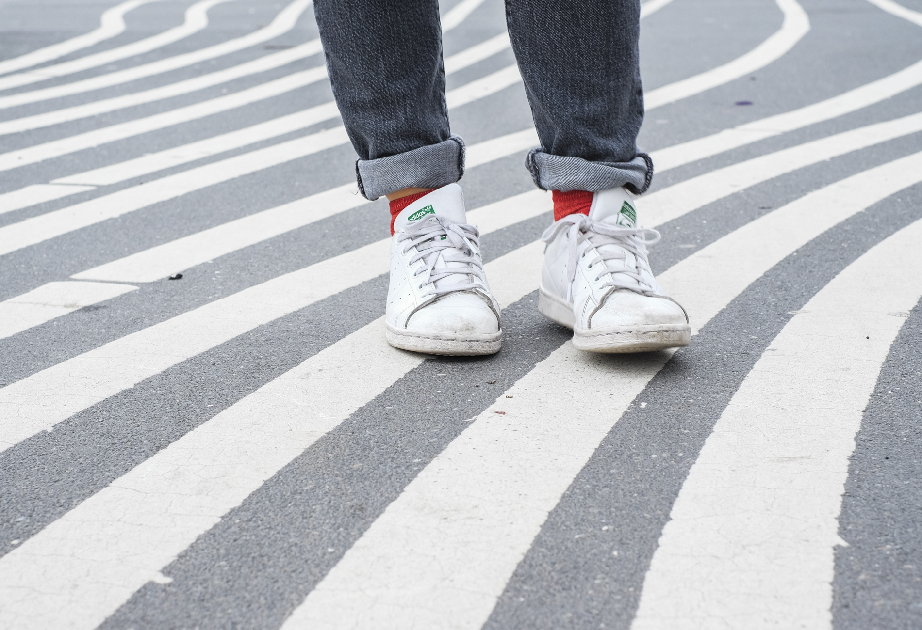 stan smiths, red socks and white lines in Copenhagen