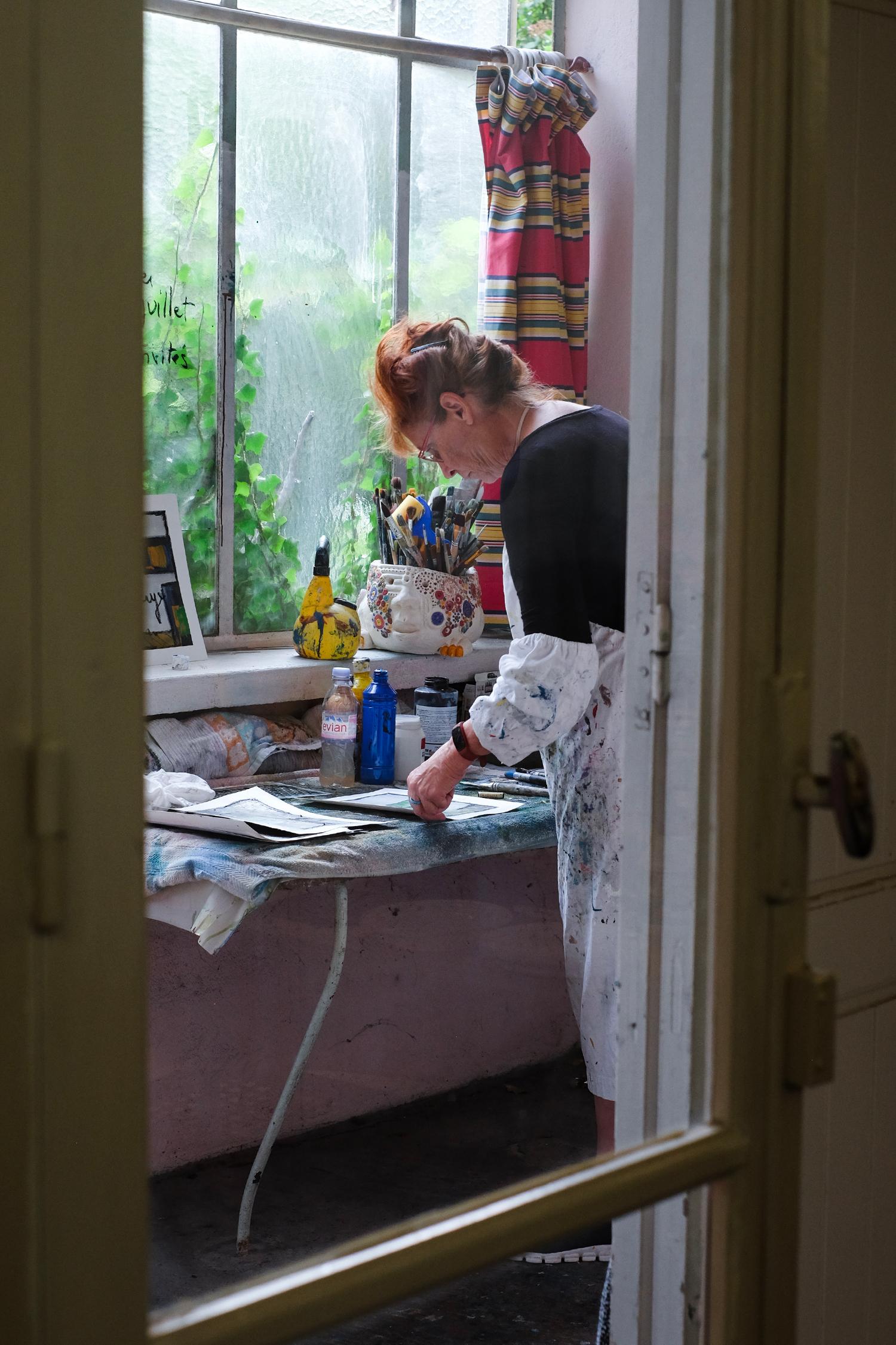 woman in an art workshop