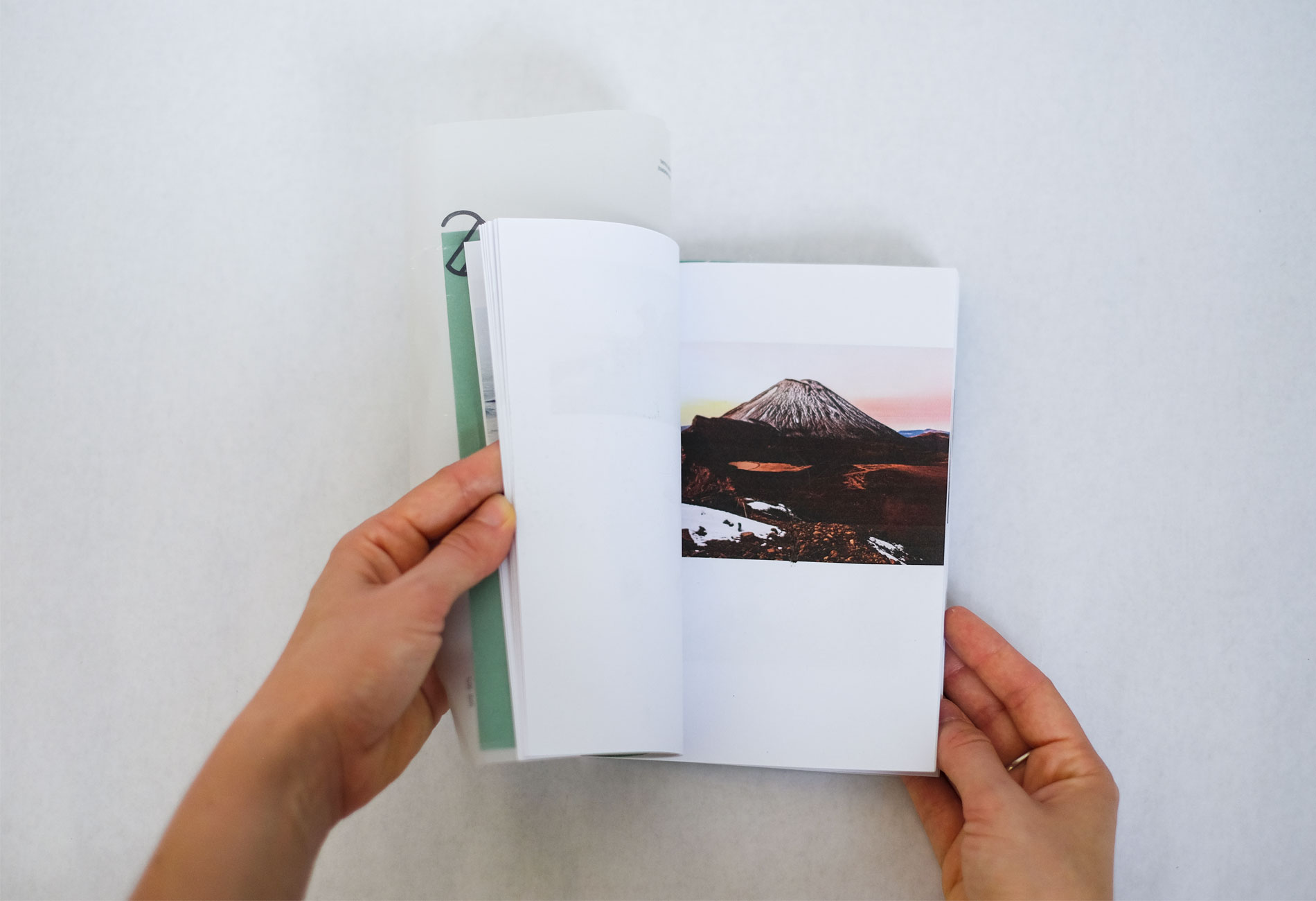 tongariro photo on guide book, editorial design graphic a Bordeaux Cobalt state