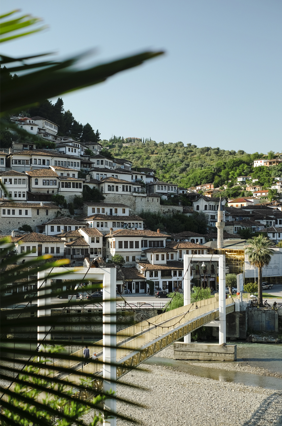 View of the white buildings of Berat road trip in Albania