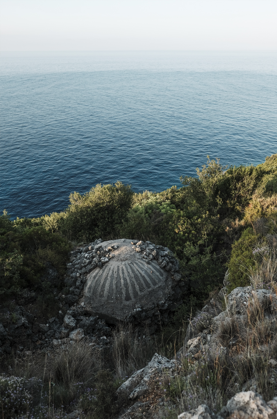 Bunker at the edge of the Adriatic sea on the coast of Albania