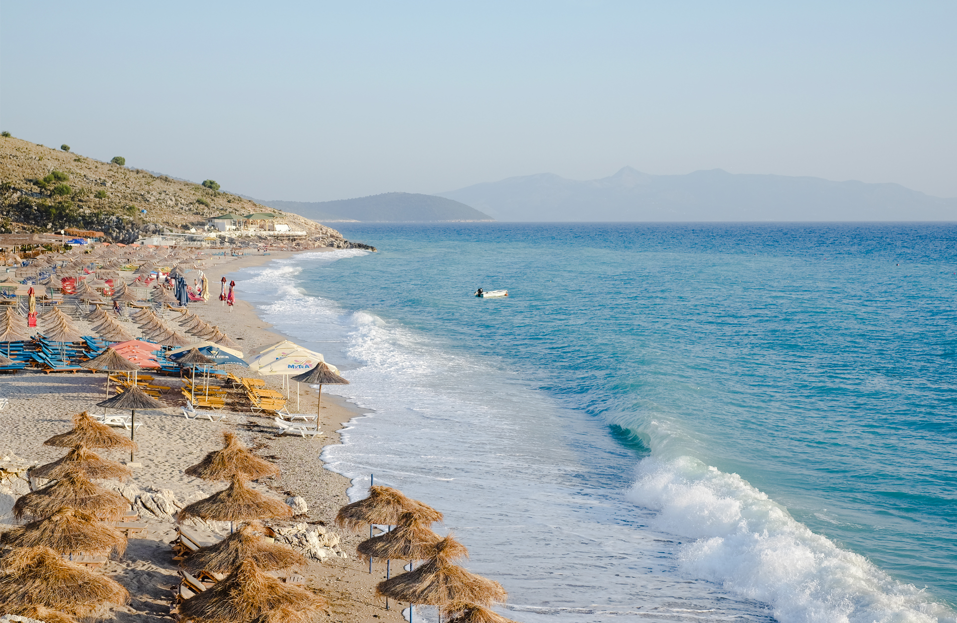 Lukove beach with breaking waves in Albania
