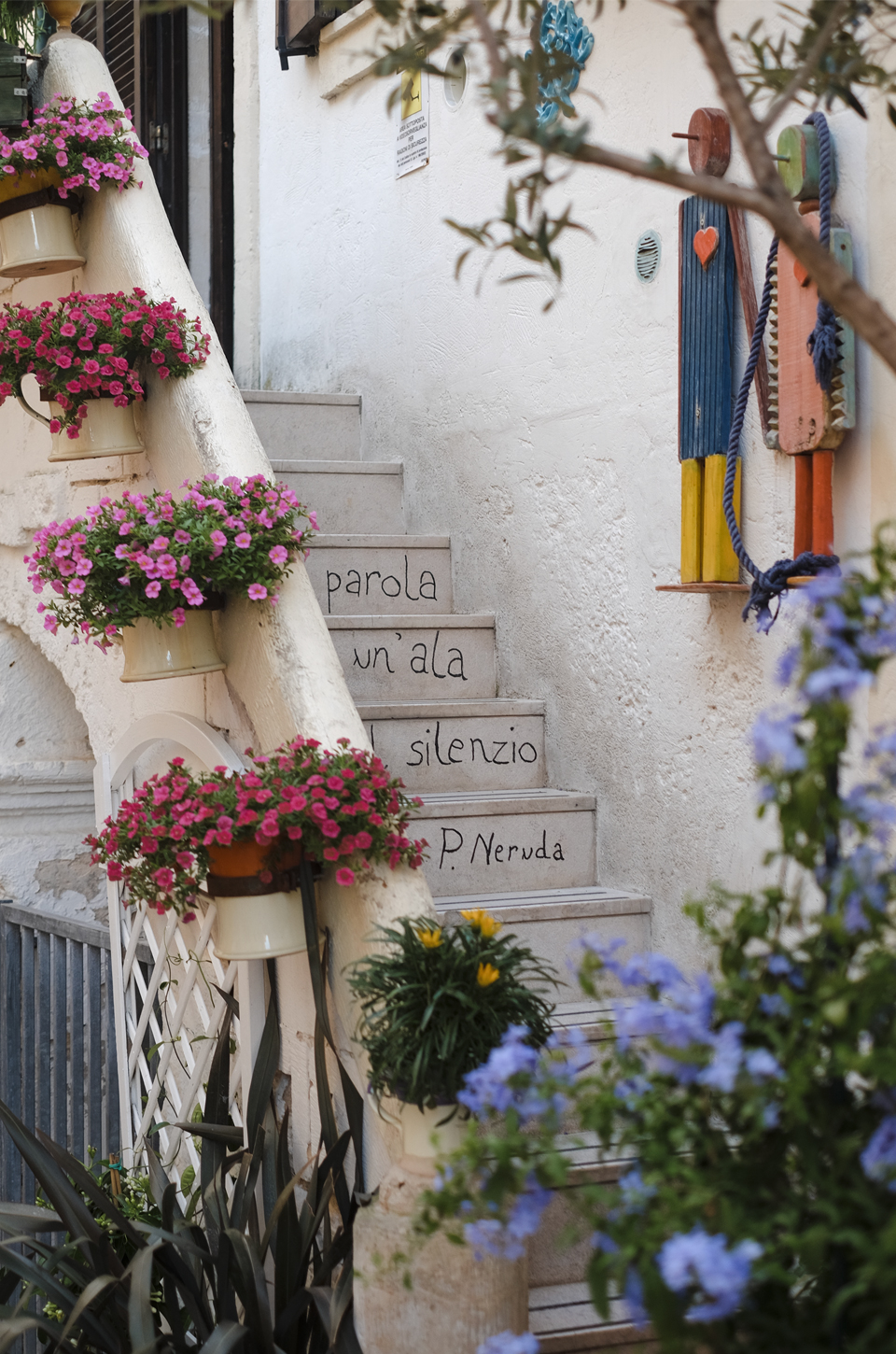 A glimpse of Puglia, stairway with written words and plants in Polignano