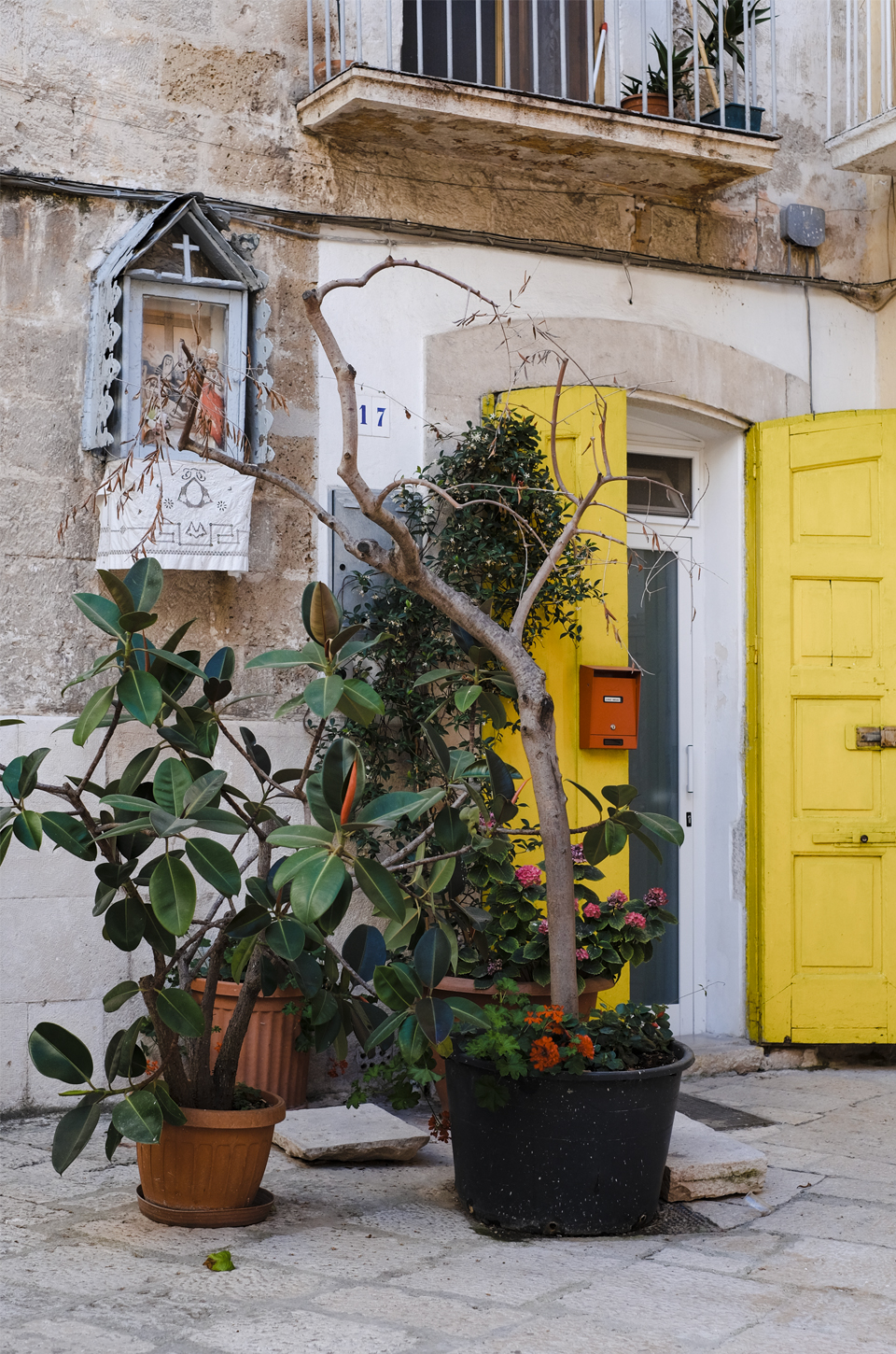 A glimpse of Puglia, yellow door and plants in Bari