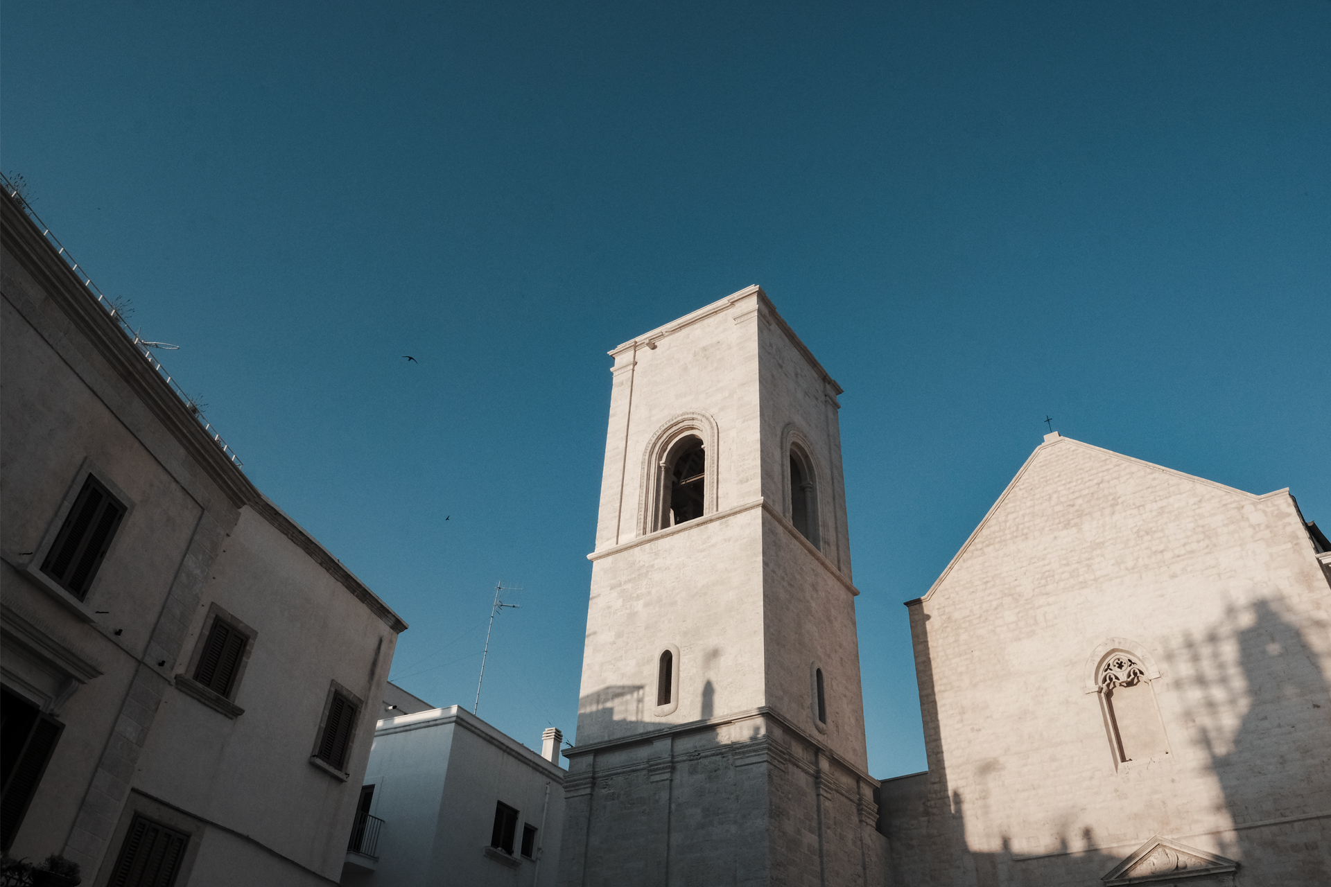 White church tower of Polignano