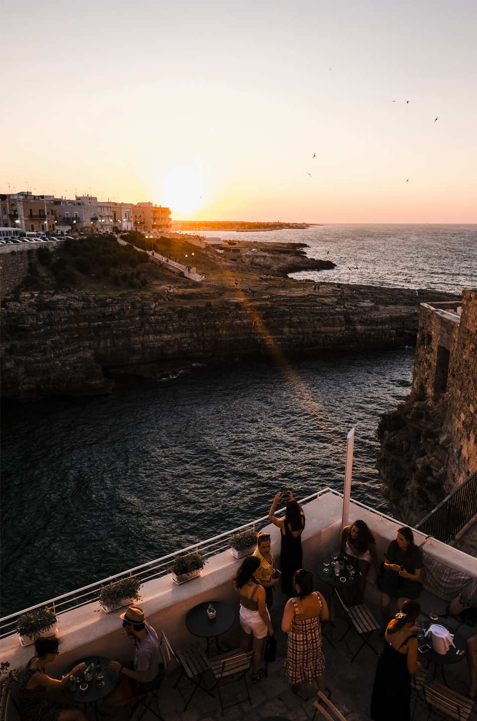 Balcony of the hotel aquamarea looking to the cliffs and sea in Polignano a Mare
