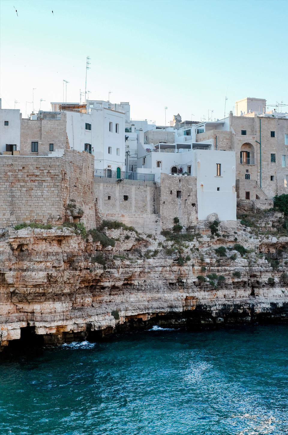 View of aquamarea hotel on the cliffs in Polignano