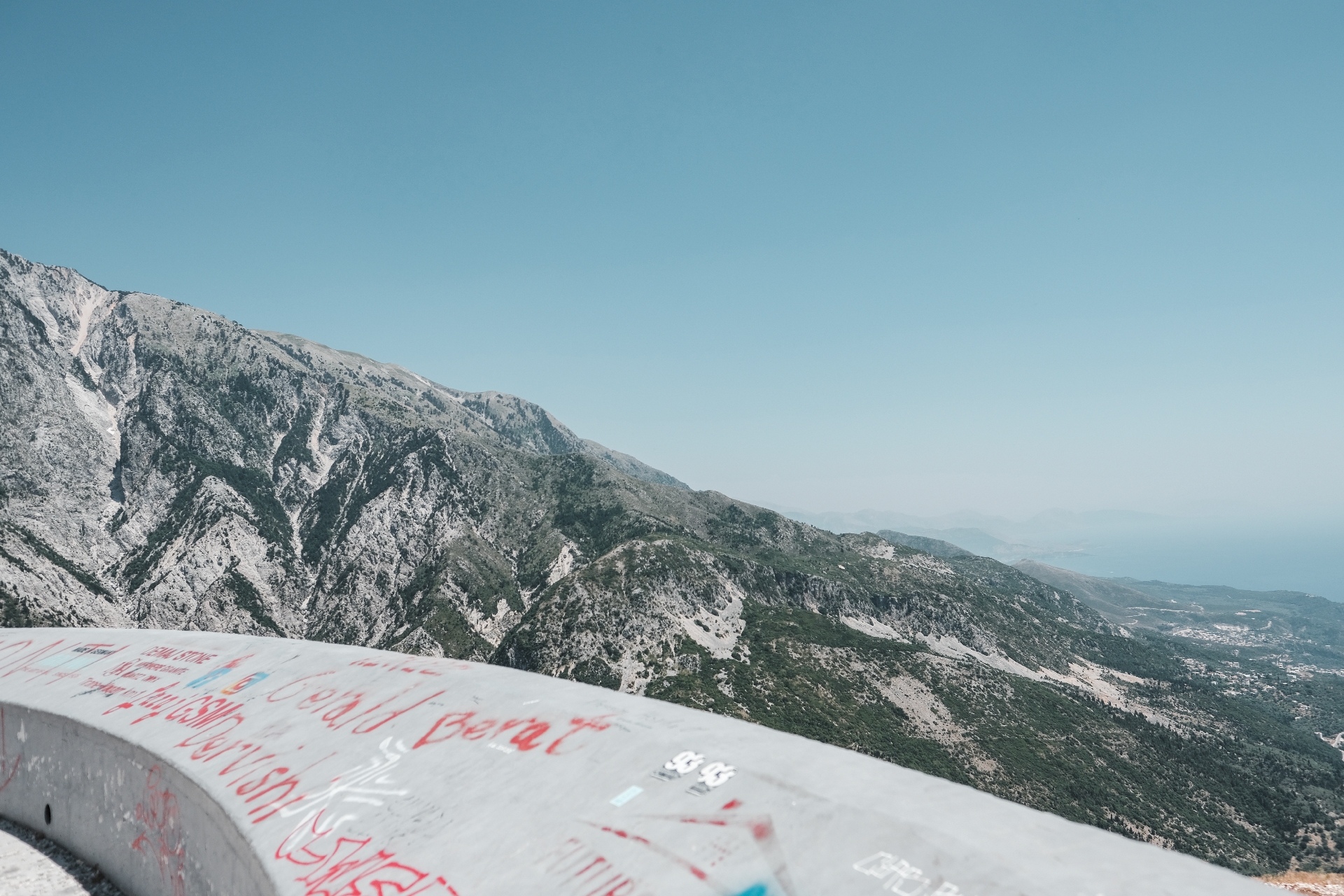 mountains and sea, from official view point, Albania road trip