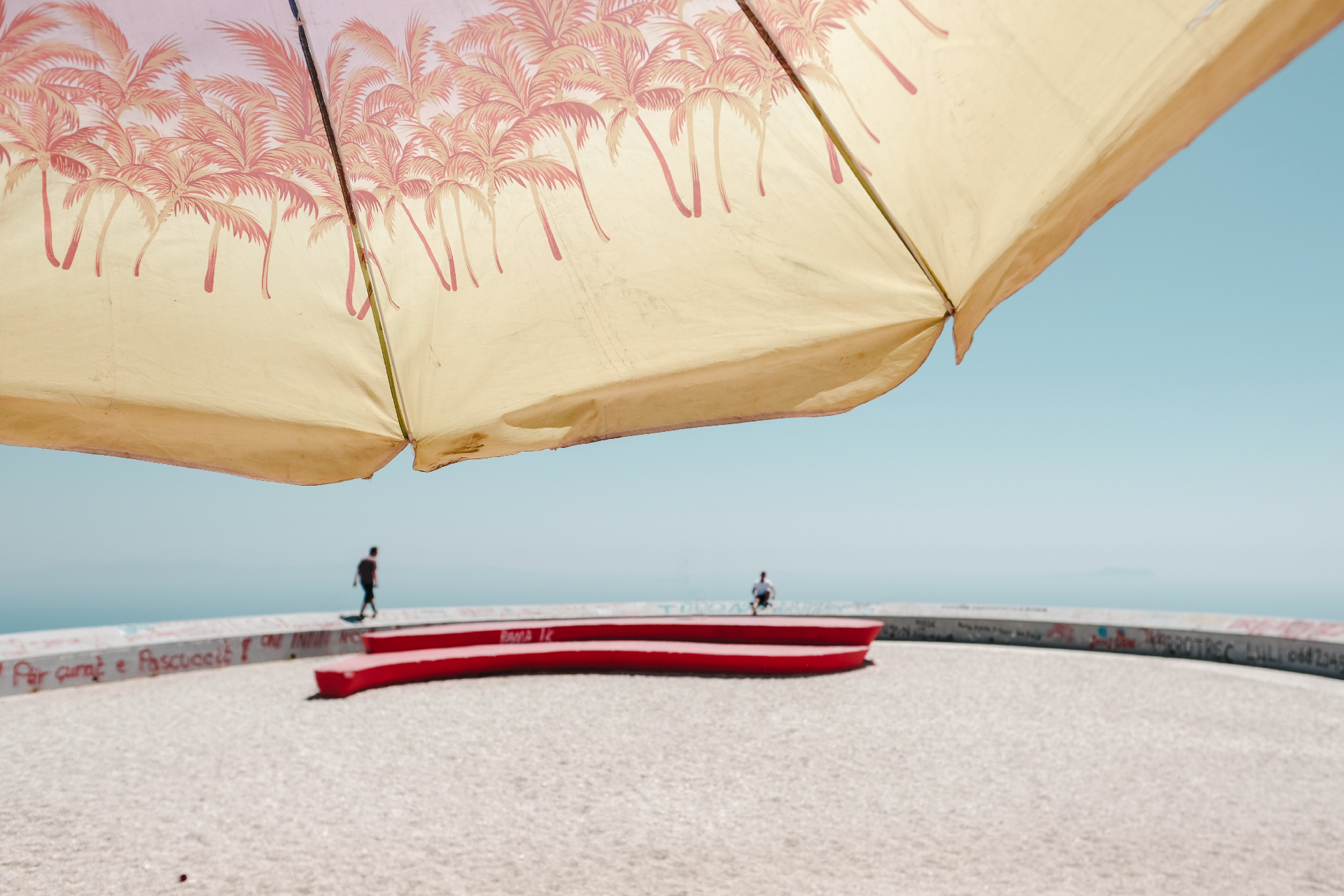 covered by an umbrella in official viewe point of the best beaches of the Riviera