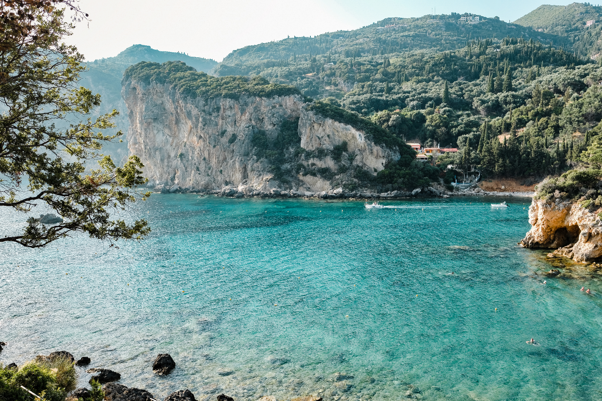 Teal water of the coast of Corfu, a weekend in Greece