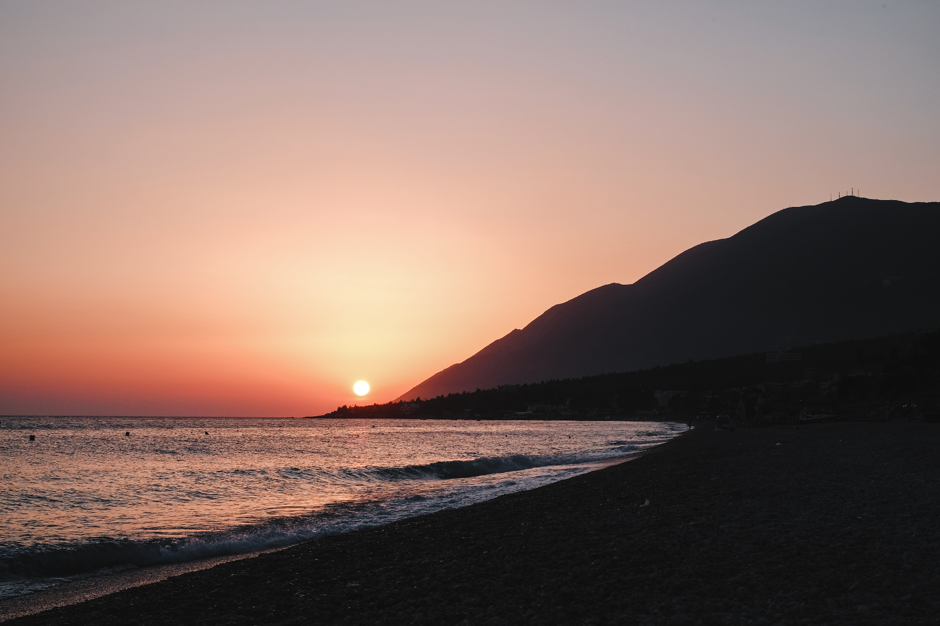 Sunset at the beach, road trip in Albania
