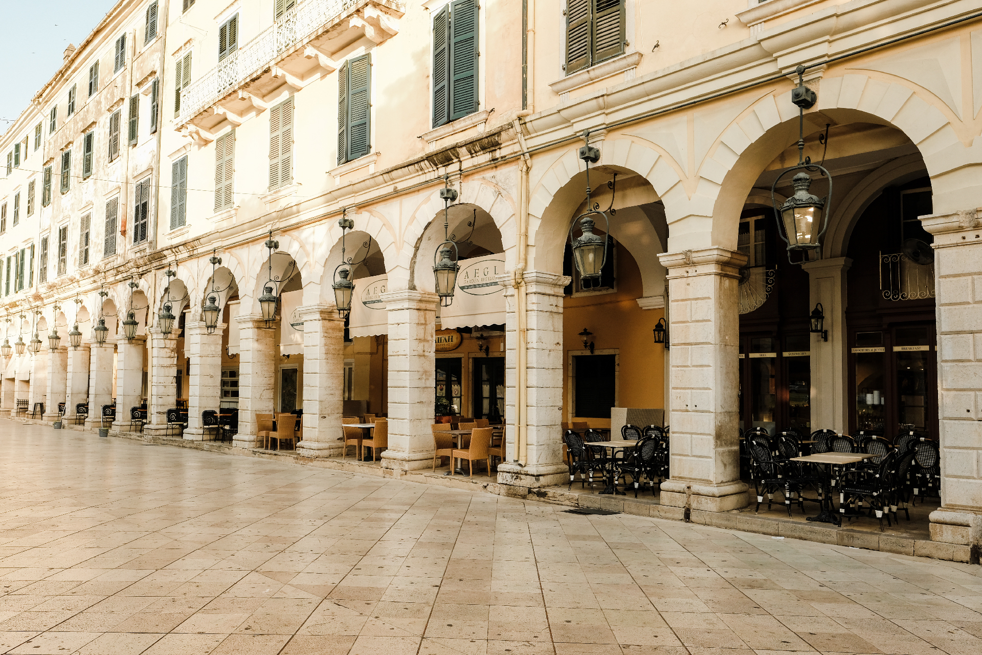 Arch formations in the streets of Corfu