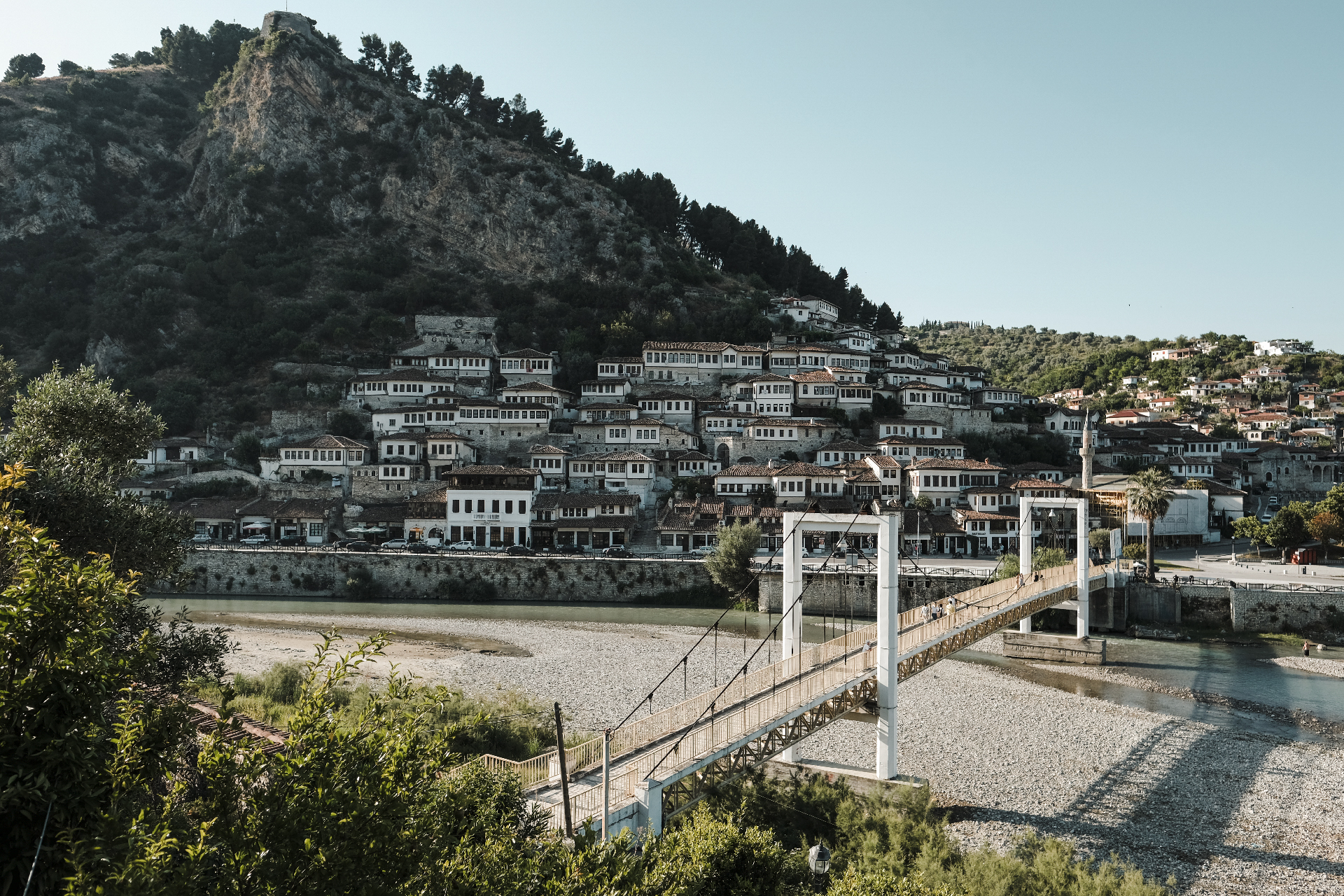 Bridge crossing the river dividing the two parts of Berat