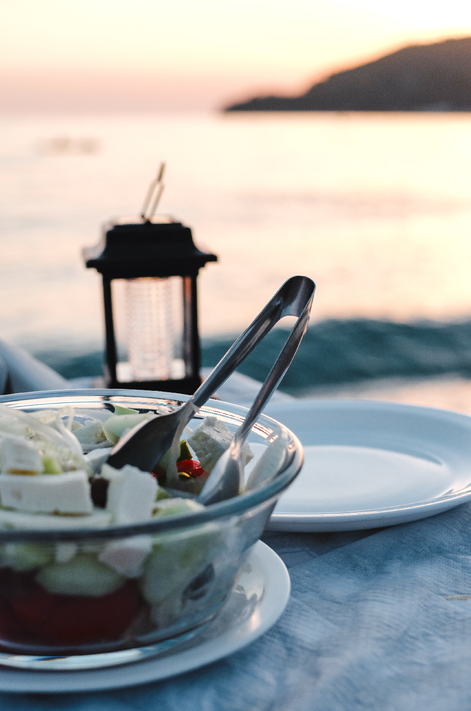 Greek salad at sunset, best beaches in the Riviera Albania