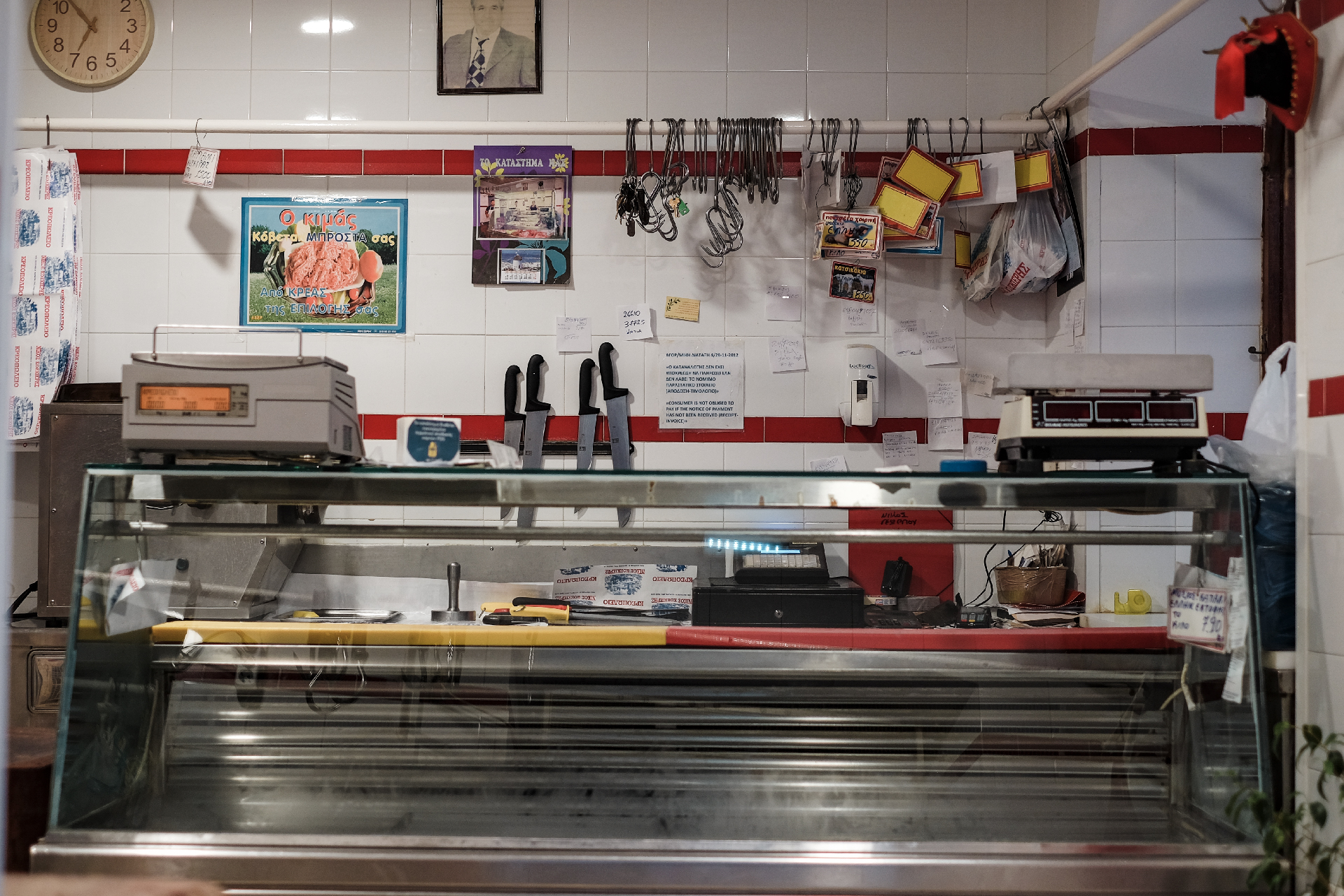 Inside of a butchery, weekend in Greece