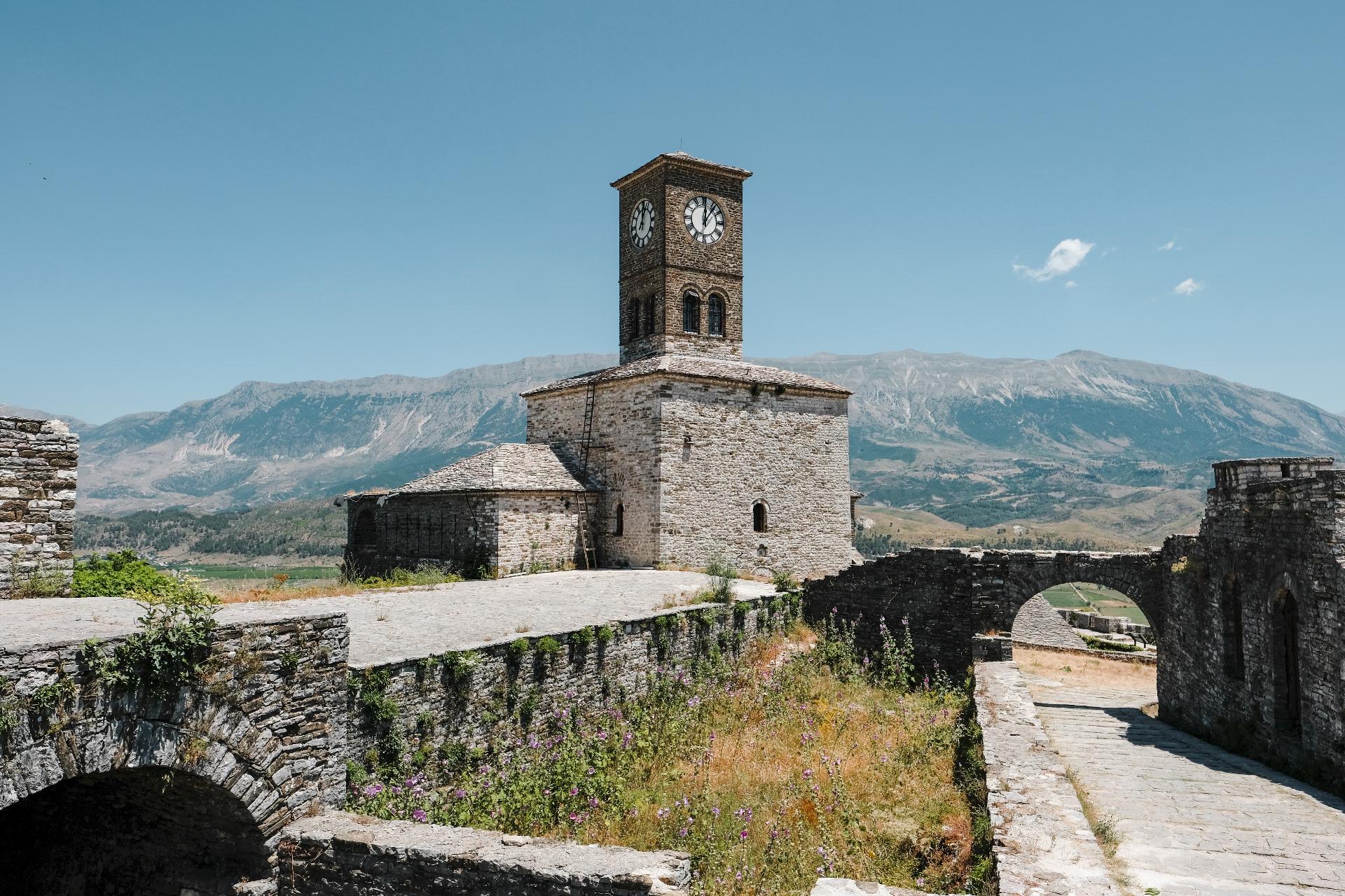 Clock tower in the castle of Gjirokastër, the center of Albania